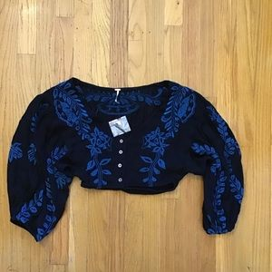 Free People Embroidered gauzy crop top O NWOT
